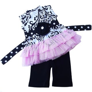 AnnLoren Damask and Tulle Tunic 2-piece Doll Outfit