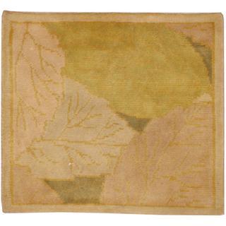 Herat Oriental Indo Tibetan Green/ Tan Wool Rug (2' x 2')