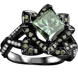 Noori 14k Black Gold 2 1/5ct TDW Certified Green Diamond Lotus Flower Engagement Ring (G-H, SI1-SI2)