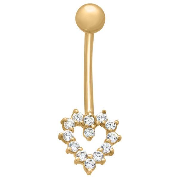 Gioelli 10k Gold Cubic Zirconia Open Heart Belly Ring