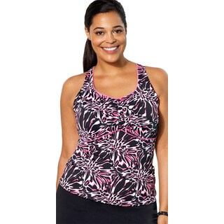Aquabelle Crackle Women's Plus Size Racerback Tankini Top