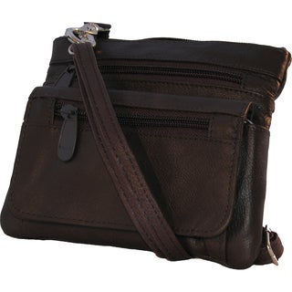 Continental Brown Leather Belt Loop Hook Detachable Shoulder Strap Bag