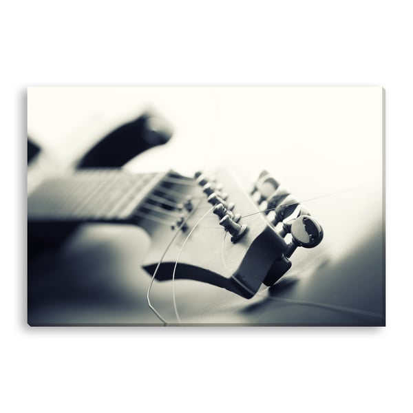 Nomad Soul's 'Black and White Electric Guitar Neck' Gallery Wrapped Canvas