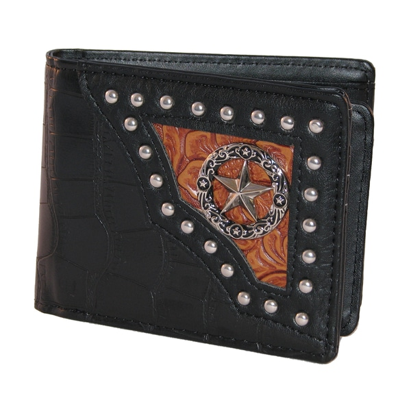 Men's Western Style Vegan Leather Concho Wallet