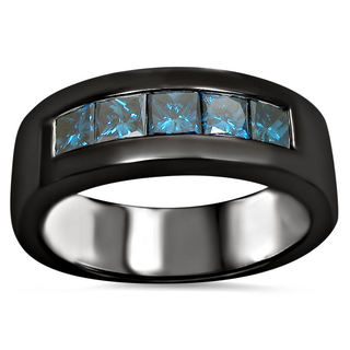 14k Black Gold Men's 1 1/10ct TDW Blue Certified Princess-cut Diamond Wedding Band