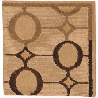 Herat Oriental Indo Tibetan Beige/ Brown Wool Rug (2' x 2')