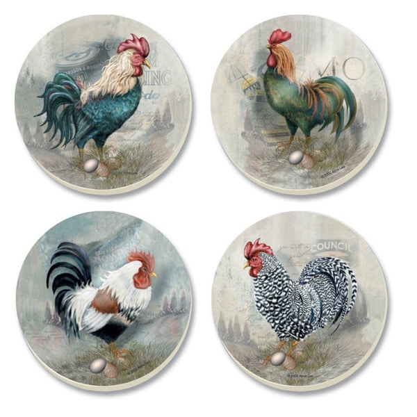 CounterArt Roosters on Parade Absorbent Stone Coasters in Wooden Holder (Set of 4)