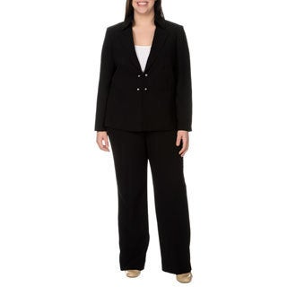 Tahari Arthur S. Levine Women's Plus Size Black Wide Leg Pant Suit