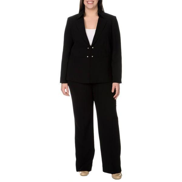 Tahari Arthur S. Levine Women's Plus Size Black Wide Leg Pant Suit