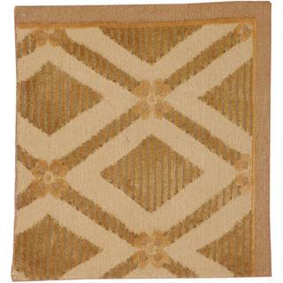 Herat Oriental Indo Tibetan Beige/ Brown Wool Rug (2'x 2')