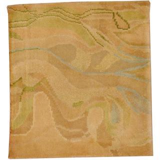 Herat Oriental Indo Tibetan Beige/ Green Wool Rug (2' x 2')