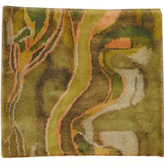 Herat Oriental Indo Tibetan Green/ Blue Wool Rug (2' x 2')