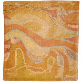 Herat Oriental Indo Tibetan Multicolor/ Peach Wool Rug (2' x 2')