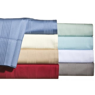 Hemstitch 400 Thread Count Sateen Cotton Stripe Sheet Set