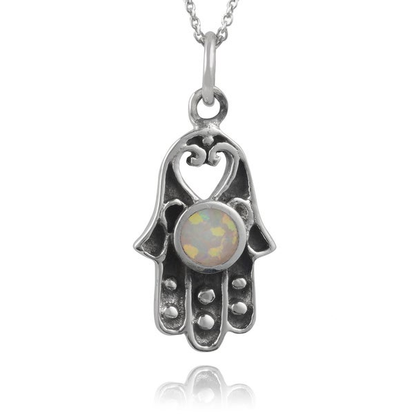 Journee Collection Sterling Silver Opal Hand-crafted Hamsa Pendant