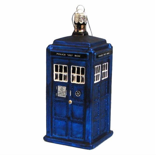 Doctor Who Blue Box Tardis Christmas Glass Ornament