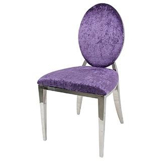 Evette Polished Steel Oval Back Chair
