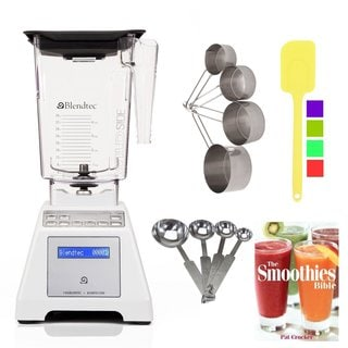 Blendtec TB-611-25 White Total Blender Classic with WildSide Jar + Smoothies Bible Cookbook and Kitchen Accessory Bundle