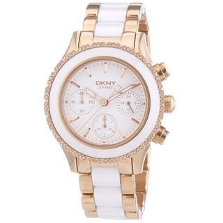 DKNY Women's NY8825 'Chambers' Chronograph Crystal Two Tone Ceramic Watch