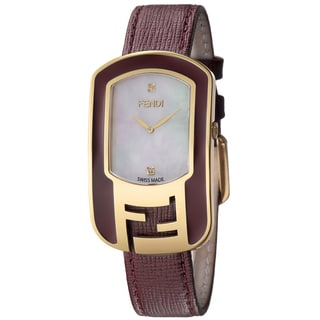 Fendi Women's F317434573D1 'Chameleon' Mother of Pearl Dial Burgandy Leather Strap Goldtone Quartz Watch