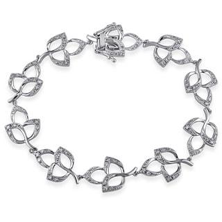 Miadora 14k White Gold 1/2ct TDW Diamond Leaf Link Bracelet (H-I, I1-I2)