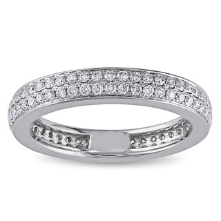 Miadora 14k White Gold 1/2ct TDW Diamond Pave Eternity Ring (G-H, SI1-SI2)
