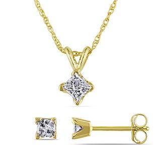 Miadora 14k Yellow Gold 5/8ct TDW Diamond Earrings and Necklace Set (I-J, I2-I3)