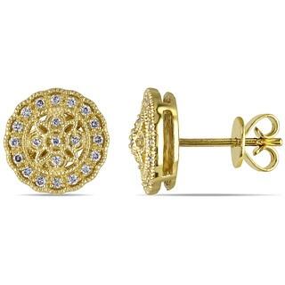 Miadora 14k Yellow Gold 1/5ct TDW Diamond Earrings (G-H, SI1-SI2)