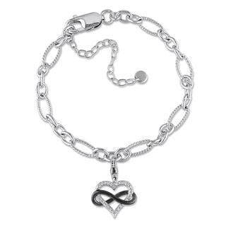 Haylee Jewels Silver 1/10ct TDW Diamond Heart Infinity Charm Bracelet (G-H, I2-I3)