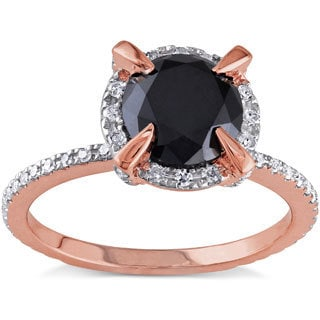 Miadora 10k Rose Gold 2ct TDW Black and White Diamond Halo Ring (G-H,I2-I3)