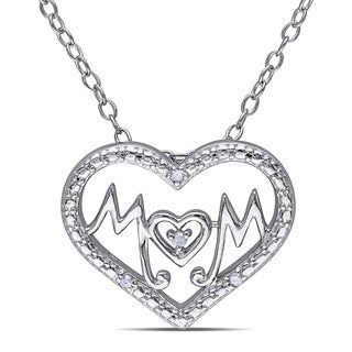 Haylee Jewels Sterling Silver Diamond Accent 'Mom' Heart Necklace