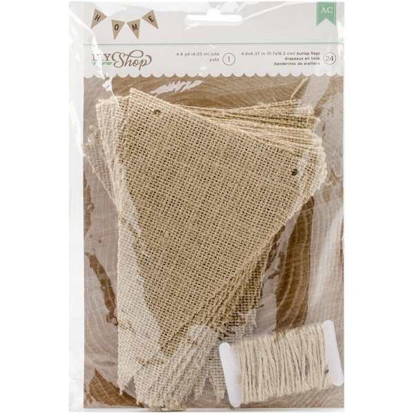 "DIY Shop 2 Banner 24pcs W/4.4yd Jute String-Natural Burlap Pennant, 4.6""X6.37"""
