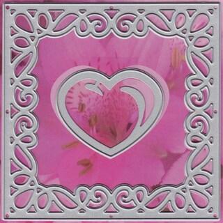 """Lin & Lene Cut & Emboss Dies 2/Pkg-Square/Flower & Heart, 4""""X4"""""""