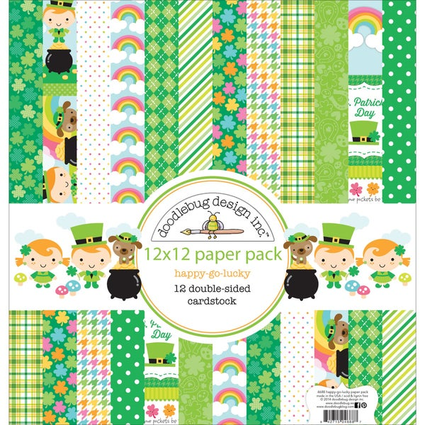 "Doodlebug Paper Pack 12""X12""-Happy Go Lucky"