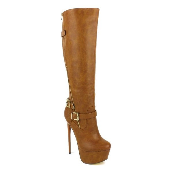 Fahrenheit Women's 'Vicky-10' Tan Tall Stiletto Knee-high Boots
