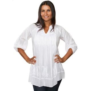 Saroja Embroidered White Tunic (India)