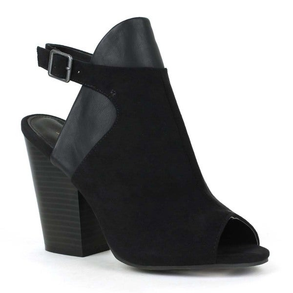 Mark and Maddux Women's 'Zac-01' Cut-out Stacked Heel Slingbacks