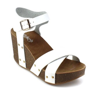 Refresh MARA-05 Women's Ankle Strap Criss-cross Platform Wedges
