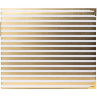 """Project Life Glossy D-Ring Album 12""""X12""""-Desktop Edition -Gold Stripes"""