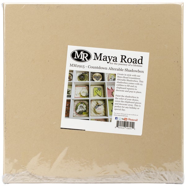 "Maya Road Alterable Chipboard Countdown Shadowbox-11.4""X11.4"" W/Twenty-Five 2""X2"" Openings"