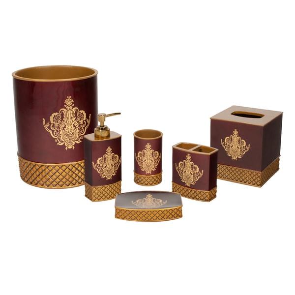 austin horn classics montecito red luxury 6 piece bath accessory set