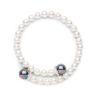 Shell Pearl Coil Bangle Bracelet