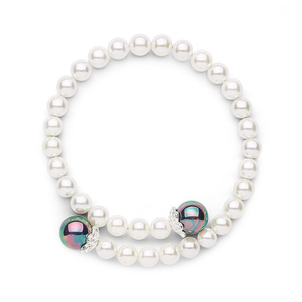 Shell Pearl Coil Bangle Bracelet