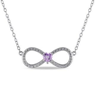Miadora Sterling Silver Heart-cut Amethyst Infinity Necklace