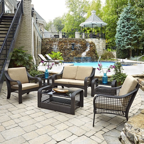 Lanai Breeze Love Seat, Two Accent Chairs, Two End Tables, and Coffee Table
