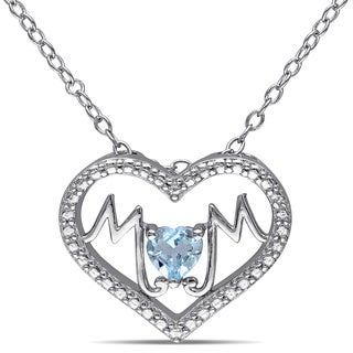 Miadora Sterling Silver Blue Topaz 'Mom' Heart Necklace