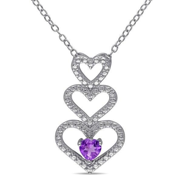 Miadora Sterling Silver Amethyst Triple-Heart Necklace