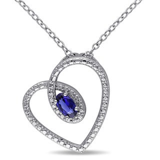 Miadora Sterling Silver Oval-cut Created Blue Sapphire Heart Necklace