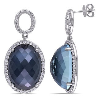 Miadora 14k White Gold Gemstone 1/5ct TDW Diamond Earrings (G-H, SI1-SI2)