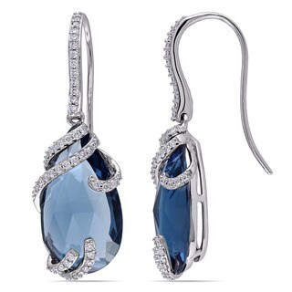 Miadora 14k White Gold London Blue Topaz and 3/8ct TDW Diamond Drop Earrings (G-H, SI1-SI2)